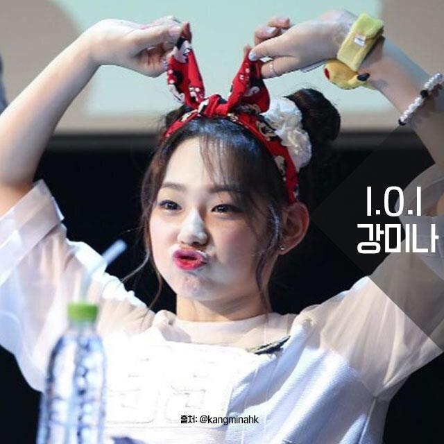 Korean kpop idol girl group ioi kang minah kpop idol trending hairstyle space bun trend kpopstuff for girls women
