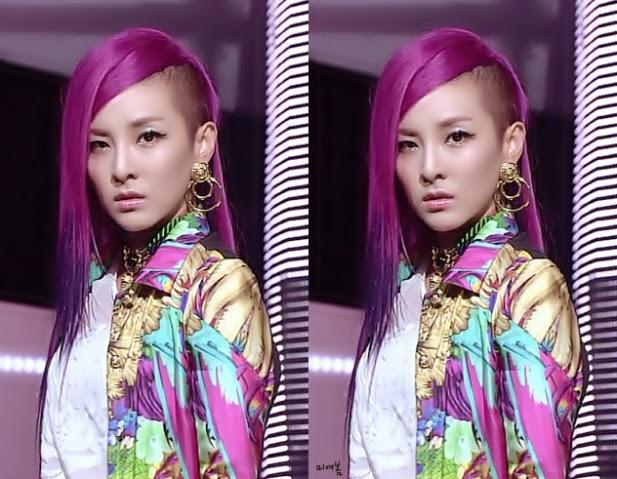 Korean kpop idol actress 2ne1 dara purple hair dye color hairstyles for girls kpopstuff