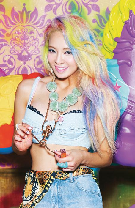 Korean kpop idol dancer girls generation SNSD Hyoyeon rainbow candy colored dye hairstyles for girls kpopstuff