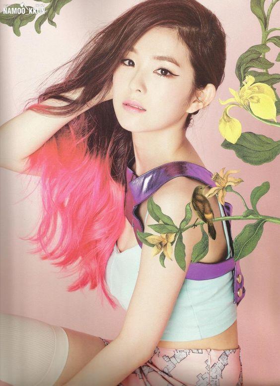 korea korean kpop idol girl group band red velvet irene's two-tone hair happiness pink hair color hairstyles for girls kpopstuff wavy photoshoot