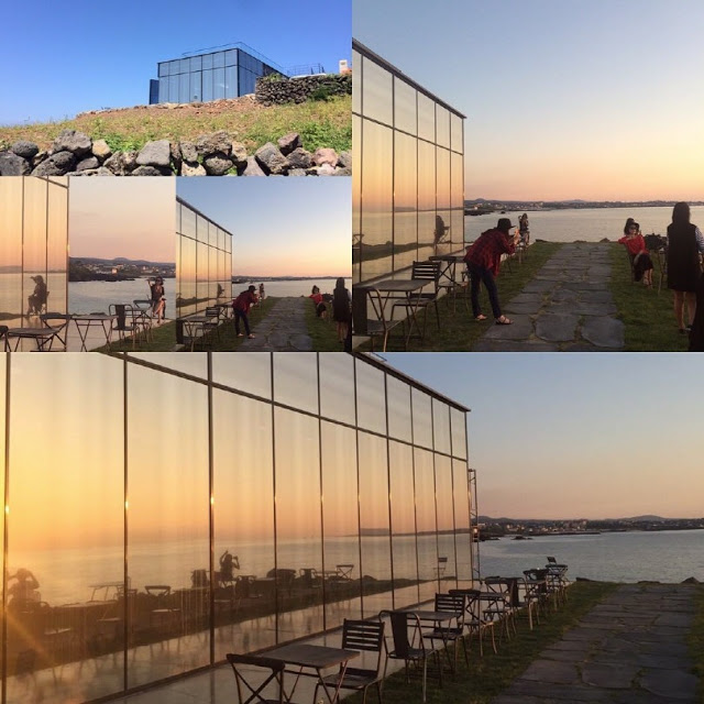 korea korean kpop idol boy band group big bang gdragon's cafe the monstant cafe in jeju island korea destinations exterior mirror glass kpopstuff