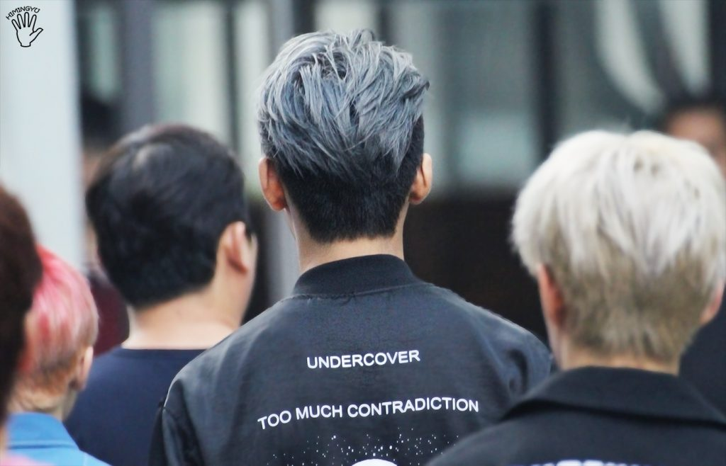 korea korean kpop idol boy band group seventeen mingyu's half-dyed hair color cool blue silver grey hairstyles for guys kpopstuff back profile