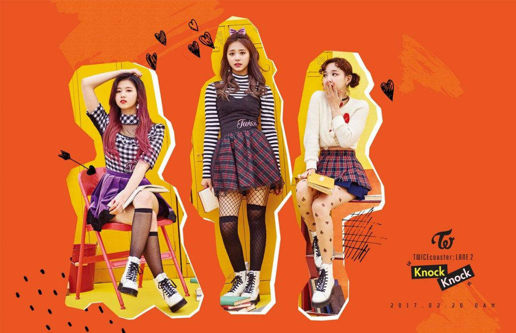 korea korean kpop idol girl group band twice's knock knock fashion sana tzuyu nayeon cute punk school outfit style for girls kpopstuff