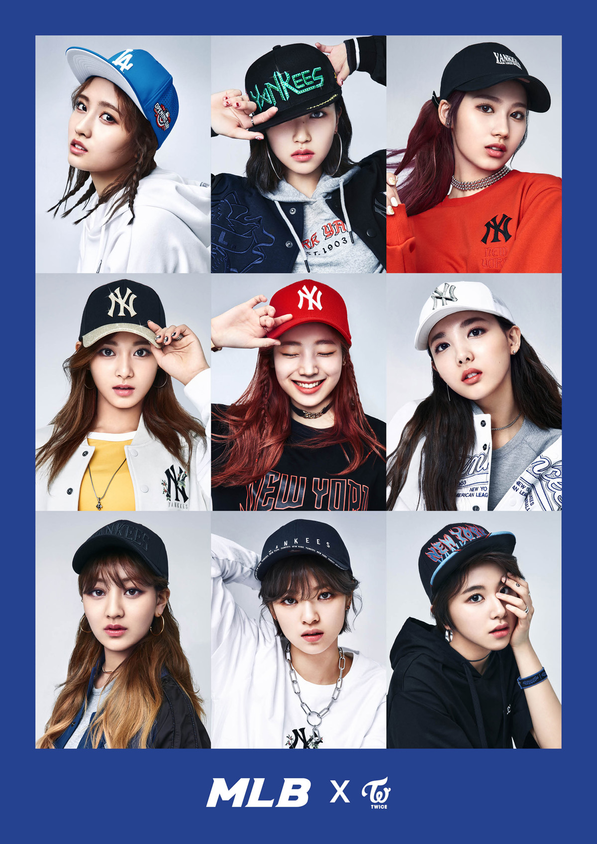 Twice 39 s sporty looks for mlb korea plus scenes from the set kpop korean hair and style Different fashion style groups