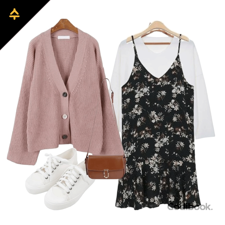 korea korean kpop idol girl group band kdrama actress outfit ideas for april wednesday cloudy flower dress sweater casual looks fashion girls kpopstuff