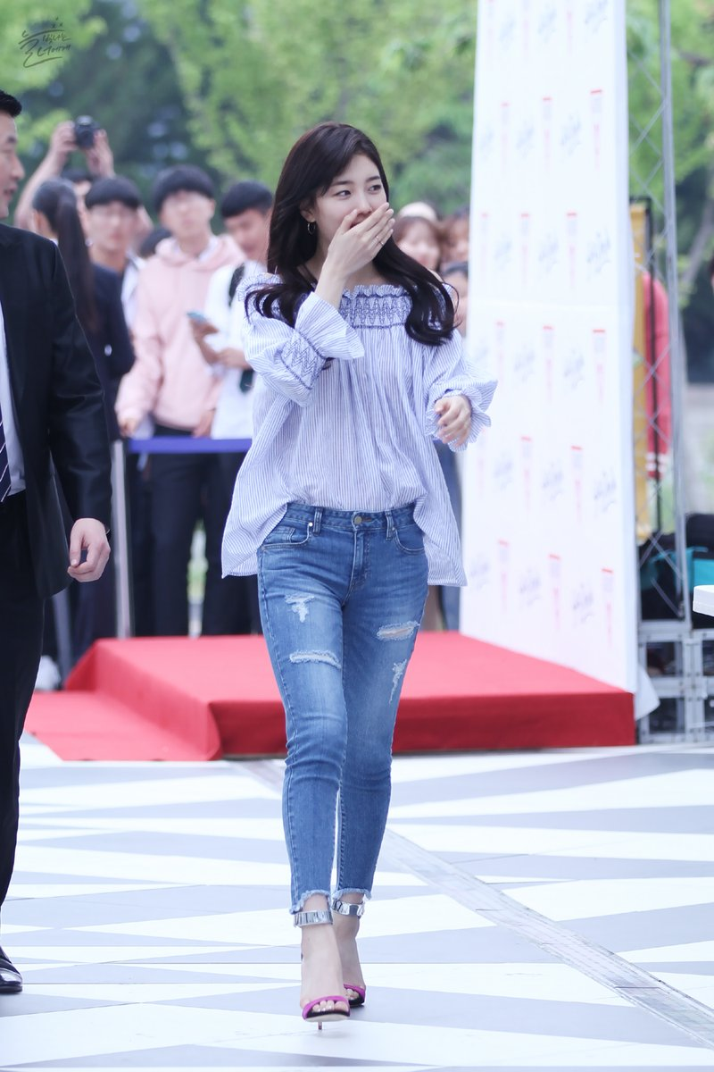 Miss A Suzy Spring Outfit Styles Fashion Off Shoulder Guess Fansign Archives Kpop Korean Hair